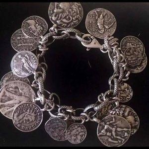 B1624 Silpada Sterling Silver Roman Coin Bracelet